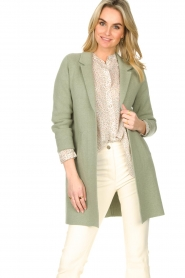 Knit-ted |  Long cotton cardigan Sammy | green  | Picture 4