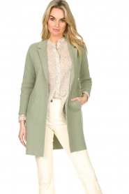 Knit-ted |  Long cotton cardigan Sammy | green  | Picture 2