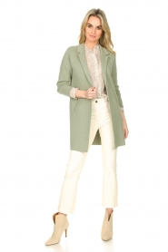 Knit-ted |  Long cotton cardigan Sammy | green  | Picture 3