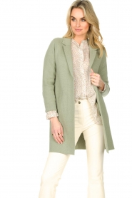 Knit-ted |  Long cotton cardigan Sammy | green  | Picture 5