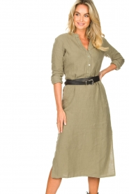 Knit-ted |  Linen dress Rebecca | green  | Picture 6