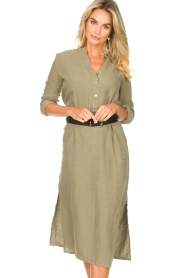 Knit-ted |  Linen dress Rebecca | green  | Picture 5