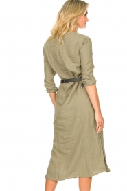 Knit-ted |  Linen dress Rebecca | green  | Picture 8
