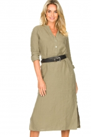 Knit-ted |  Linen dress Rebecca | green  | Picture 4