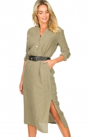 Knit-ted |  Linen dress Rebecca | green  | Picture 2