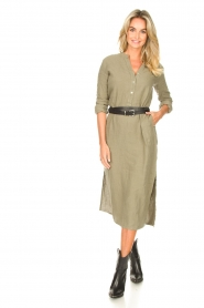 Knit-ted |  Linen dress Rebecca | green  | Picture 3