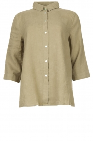 Knit-ted |  Linen blouse Nathalie | green  | Picture 1