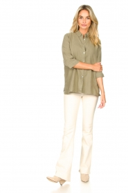 Knit-ted |  Linen blouse Nathalie | green  | Picture 3