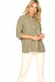 Knit-ted |  Linen blouse Nathalie | green  | Picture 2