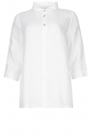 Knit-ted |  Linen blouse Nathalie | white  | Picture 1