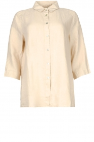 Knit-ted |  Linen blouse Nathalie | beige  | Picture 1