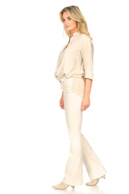 Knit-ted |  Linen blouse Nathalie | beige  | Picture 3