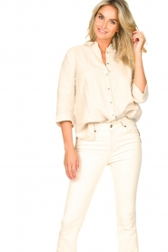 Knit-ted |  Linen blouse Nathalie | beige  | Picture 5