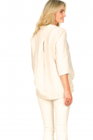 Knit-ted |  Linen blouse Nathalie | beige  | Picture 7