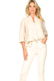 Knit-ted |  Linen blouse Nathalie | beige  | Picture 4