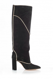 Toral |  High suede boots with golden trim Tiffy | black  | Picture 1