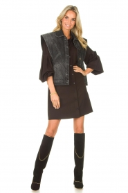 Toral |  High suede boots with golden trim Tiffy | black  | Picture 3