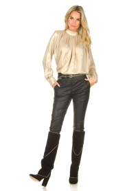 Toral |  High suede boots with golden trim Tiffy | black  | Picture 4