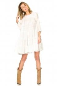 Devotion |  Cotton dress with ruffles | white  | Picture 3