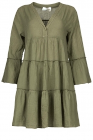 Devotion |  Cotton dress with ruffles Hague | green  | Picture 1