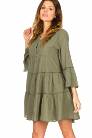 Devotion |  Cotton dress with ruffles Hague | green  | Picture 4