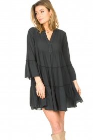 Devotion |  Cotton dress with ruffles Rosaline | black  | Picture 3