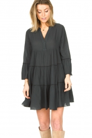 Devotion |  Cotton dress with ruffles Rosaline | black  | Picture 4