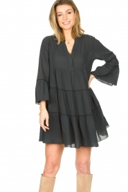 Devotion |  Cotton dress with ruffles Rosaline | black  | Picture 2