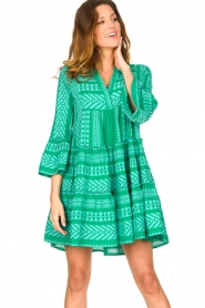 Devotion |  Cotton dress with print Ella | green  | Picture 2