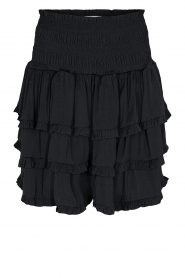 Sofie Schnoor |  Smoked skirt with ruffles Fanya | black  | Picture 1