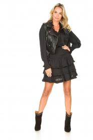 Sofie Schnoor |  Smoked skirt with ruffles Fanya | black  | Picture 3