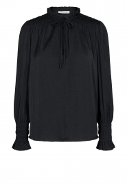 Sofie Schnoor |  Smocked blouse with ruffles Alina | black  | Picture 1