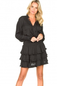 Sofie Schnoor |  Smocked blouse with ruffles Alina | black  | Picture 4