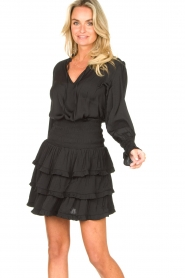 Sofie Schnoor |  Smocked blouse with ruffles Alina | black  | Picture 2