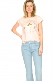 Sofie Schnoor |  Cotton T-shirt with print Nicoline | pink  | Picture 2