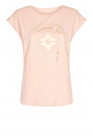 Sofie Schnoor |  Cotton T-shirt with print Nicoline | pink  | Picture 1