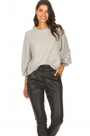 ba&sh |  Knitted sweater with balloon sleeves Yann | grey  | Picture 5