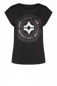 Sofie Schnoor |  Cotton T-shirt with print Nicoline | black  | Picture 1