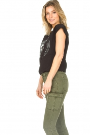 Sofie Schnoor |  Cotton T-shirt with print Nicoline | black  | Picture 6