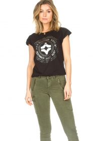 Sofie Schnoor |  Cotton T-shirt with print Nicoline | black  | Picture 2