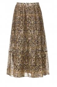 ba&sh |  Lurex midi skirt with print Gellio | green  | Picture 1