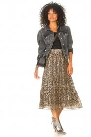 ba&sh |  Lurex midi skirt with print Gellio | green  | Picture 3
