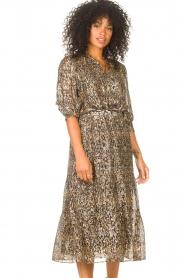 ba&sh |  Lurex midi skirt with print Gellio | green  | Picture 5