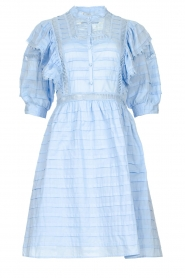 Silvian Heach |  Cotton broderie dress with ruffles Kenzie | blue   | Picture 1