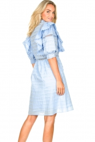 Silvian Heach |  Cotton broderie dress with ruffles Kenzie | blue   | Picture 7