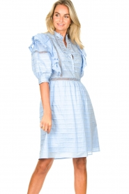 Silvian Heach |  Cotton broderie dress with ruffles Kenzie | blue   | Picture 4
