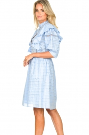 Silvian Heach |  Cotton broderie dress with ruffles Kenzie | blue   | Picture 6