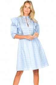Silvian Heach |  Cotton broderie dress with ruffles Kenzie | blue   | Picture 5