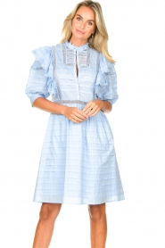 Silvian Heach |  Cotton broderie dress with ruffles Kenzie | blue   | Picture 2
