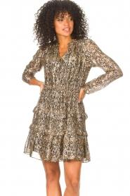 ba&sh |  Lurex dress with print Glen | green  | Picture 2